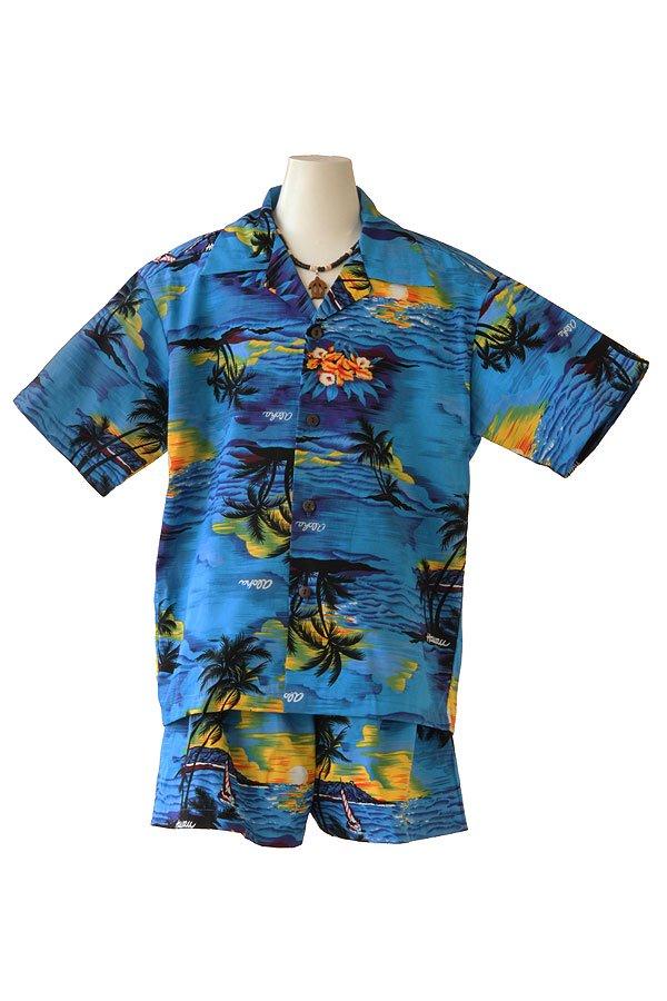 Boysアロハシャツスーツ(ハワイアン・ブルー)
