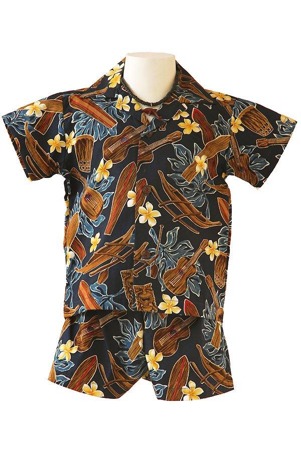 Boysアロハシャツスーツ(ティキ・ブルー)