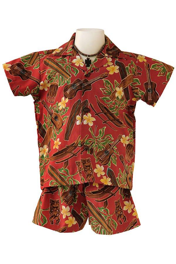 Boysアロハシャツスーツ(ティキ・レッド)