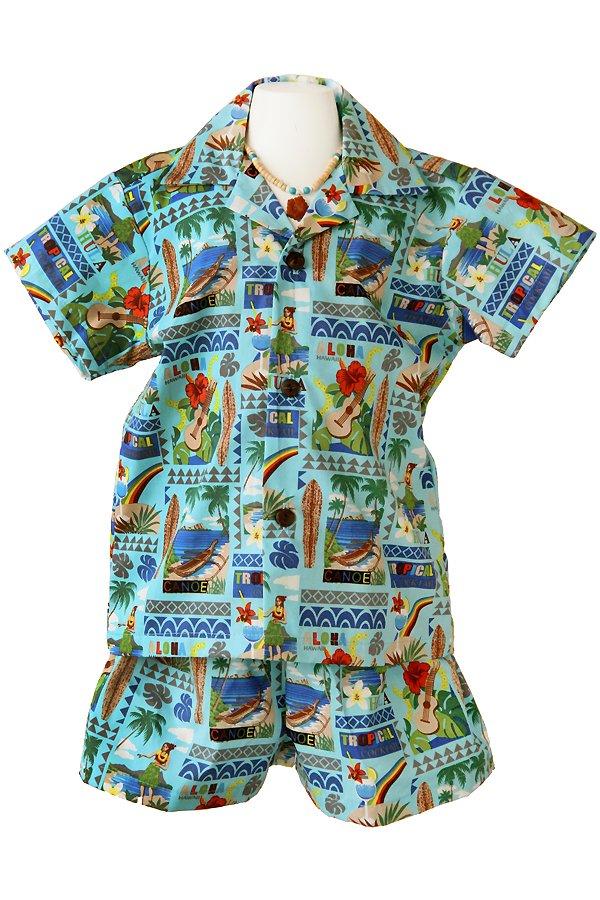 Boysアロハシャツスーツ(カウウェラ・ブルー)