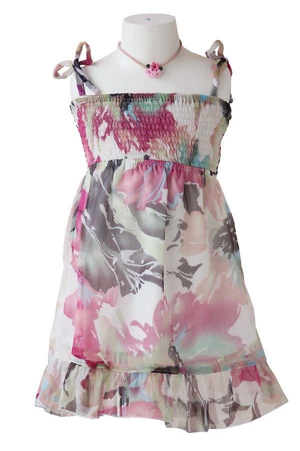 Girlsハワイアン・シフォンキャミドレス(ハウケア・ホワイト)