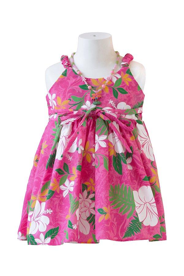 Girlsアロハエラスティックドレス(カウピリ・ピーチ)