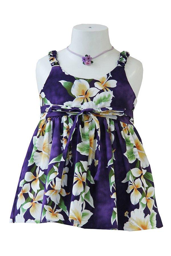 Girlsアロハエラスティックドレス(アロアロ・パープル)