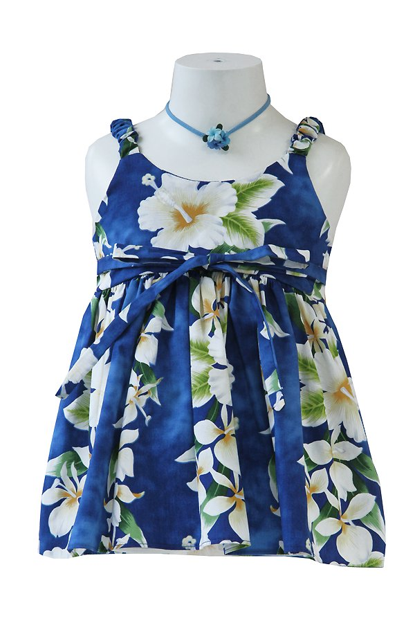 Girlsアロハエラスティックドレス(アロアロ・ブルー)