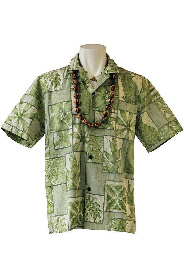 メンズアロハシャツ(ルルリーフ・モスグリーン)