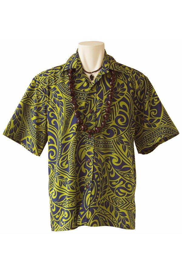 Ocean's & It  メンズアロハシャツ(フィジー・グリーン)