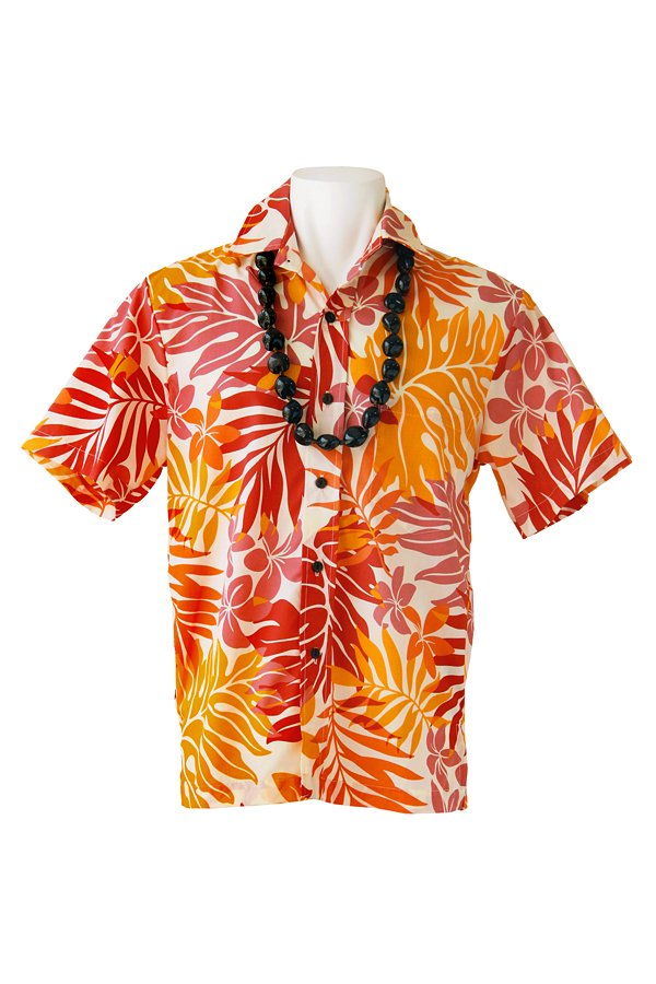 Ocean's & It  メンズアロハシャツ(モンステラ・オレンジ)