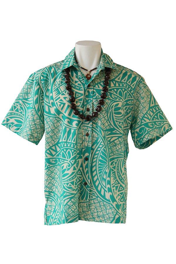 Ocean's & It  メンズアロハシャツ(タヒチアン・ジェイド)