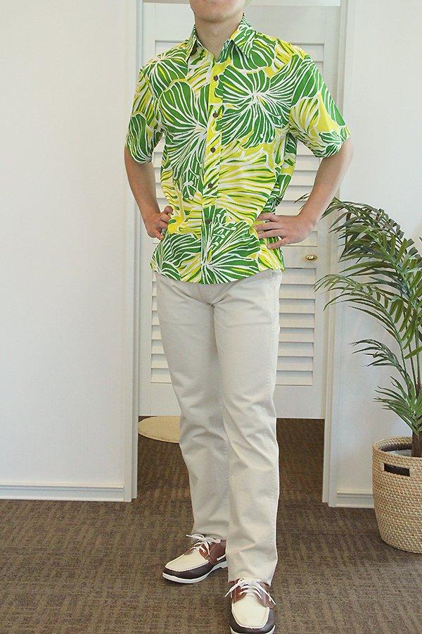 Ocean's & It  メンズアロハシャツ(ハイビスカス・グリーン)