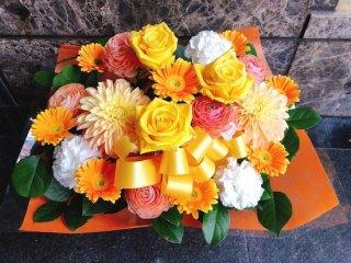 かごアレンジ 黄色系