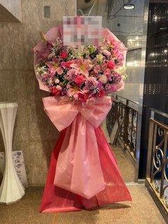 花束風生花スタンド ピンク系