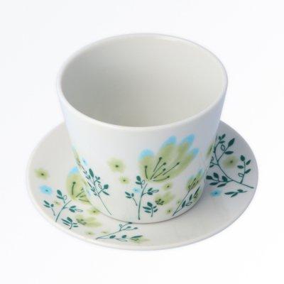春花 カップ&ソーサー[緑]