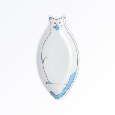小ネコ皿[淡青]
