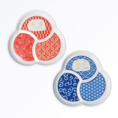 だるま小皿 2pcsセット[赤青]