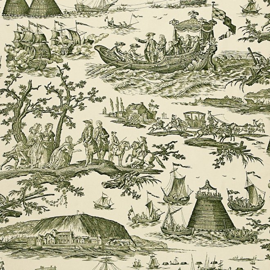 フランス生地 コットン100% トワル・ド・ジュイ 《海軍のお祝い》 グリーン
