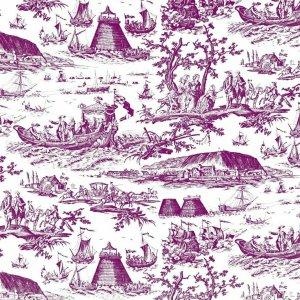 フランス生地 コットン100% トワル・ド・ジュイ 《海軍のお祝い》 ピンク