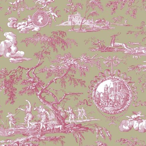 フランス生地 コットン100% トワル・ド・ジュイ 《ディアーナの狩猟》 グリーン &  ピンク