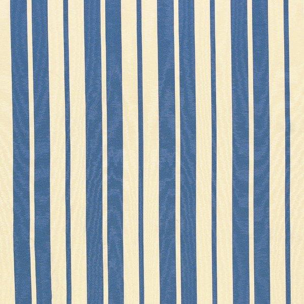 フランス生地 防炎加工 モアレ ストライププリント 《エレン》 クリーム & ブルー