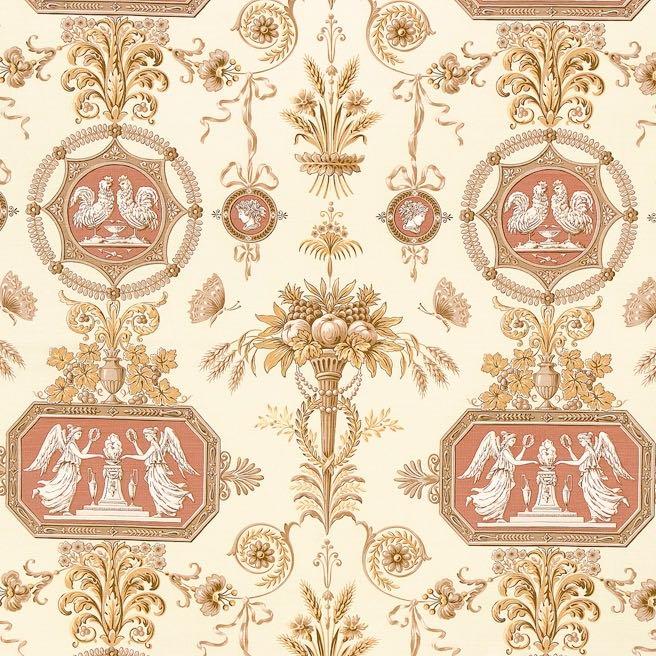 fabric/ファブリック/生地 コットンリネン エンジェルプリント 《アクタイオーン》 クリーム & イエロー by Charles Burger (シャールブルジェ)