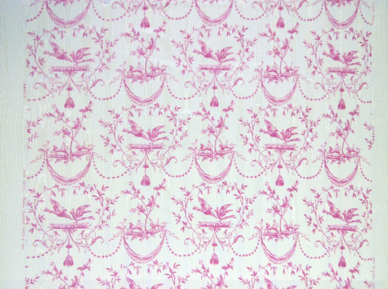 フランス生地 防炎加工 モアレ 動物プリント 《フェニックス》 ピンク