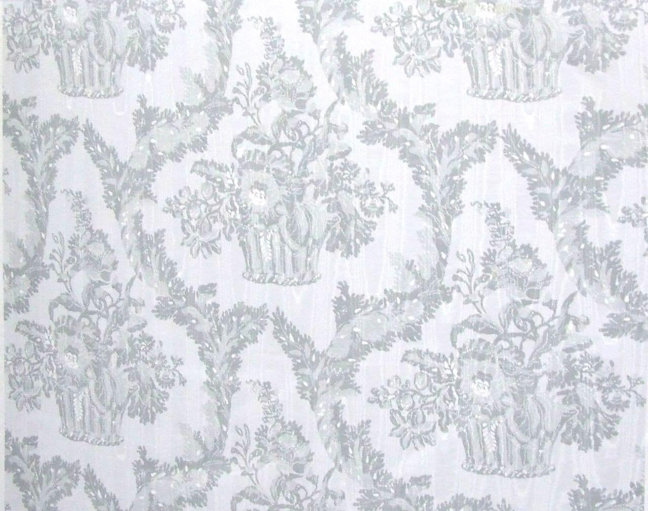フランス生地 防炎加工 モアレ フラワープリント 《ラ・ヴァリエール》 クリーム & グレー