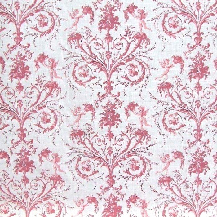 フランス生地 平織り リネン100% エンジェルプリント 《天使》 ピンク