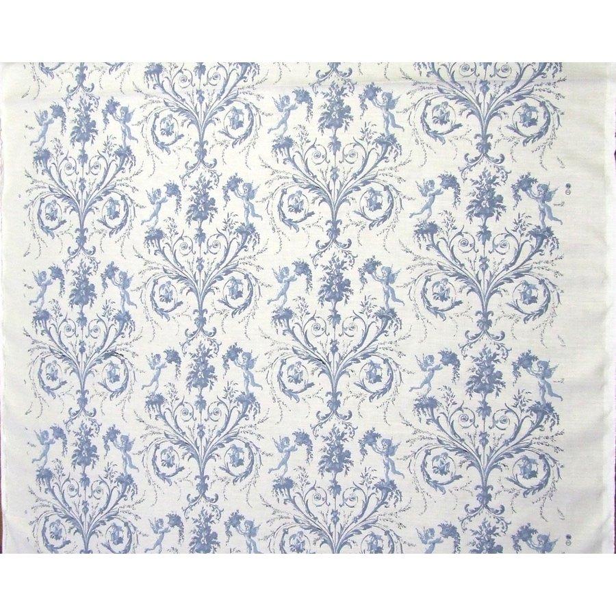フランス生地 平織り リネン100% エンジェルプリント 《天使》 ブルー