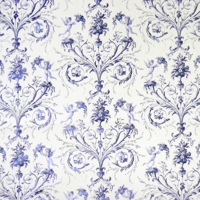 フランス生地 平織り コットン100% エンジェルプリント 《天使》 ブルー