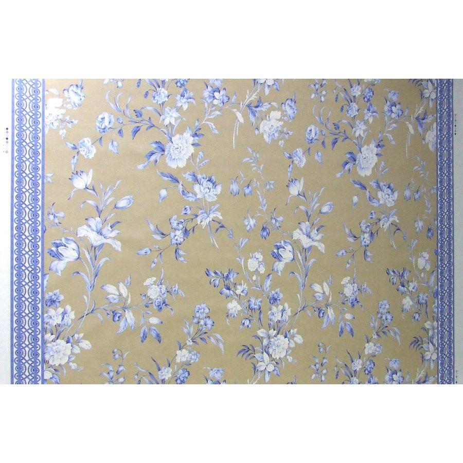 フランス生地 平織り 100%コットン フラワープリント 《アヴェンイェールの花》 ブラウン & ブルー