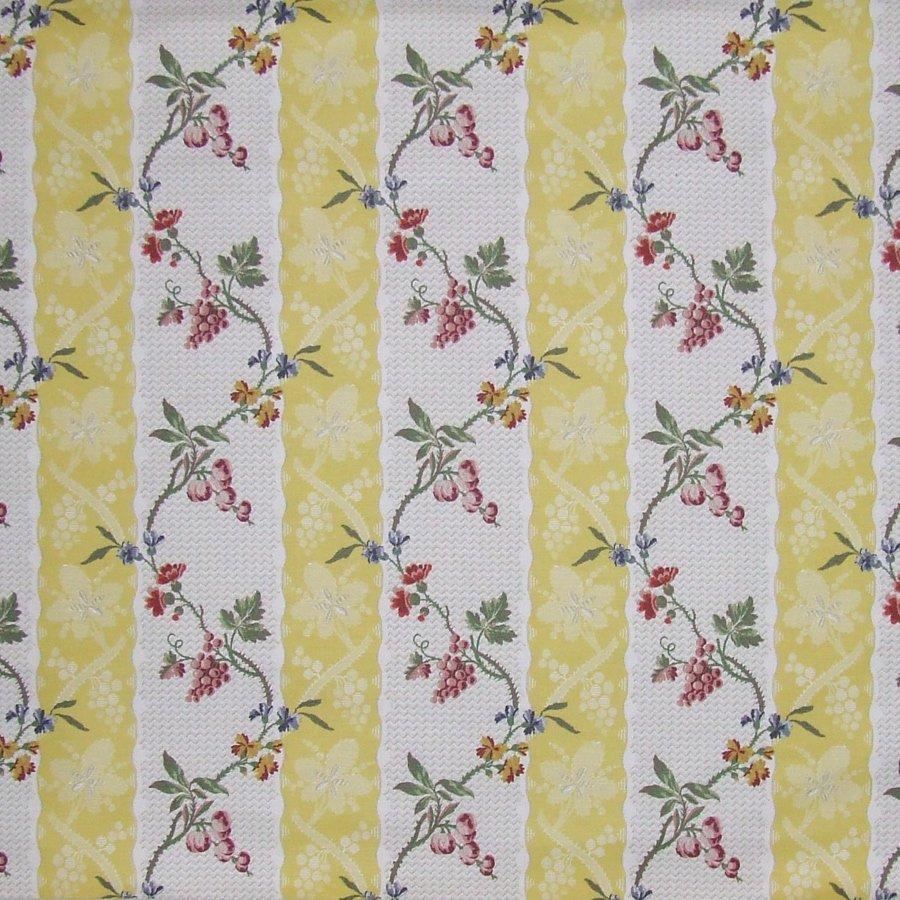 fabric/ファブリック/生地 コットンリネン フラワーストライプ 《モンラッシェ》 イエロー by Charles Burger (シャールブルジェ)