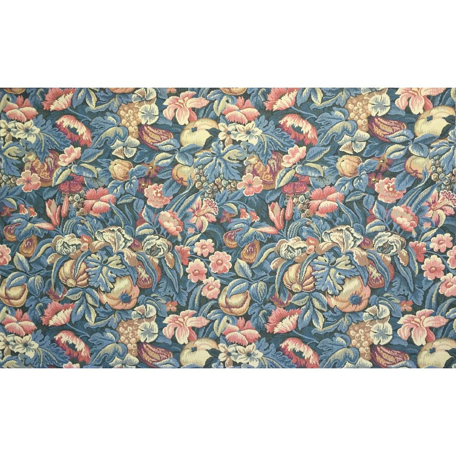 フランス生地 タペストリー織り フラワー 《フローラル》 ブルー