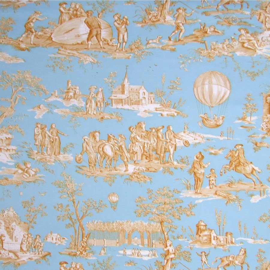 fabric/ファブリック/生地 コットン100% トワル・ド・ジュイ 《ゴネスの気球》 ブルー& ゴールド by Charles Burger (シャールブルジェ)