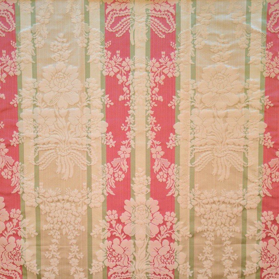 fabric/ファブリック/生地 シルクコットン ダマスク 《シャンピニー》 クリーム & レッド by Charles Burger (シャールブルジェ)