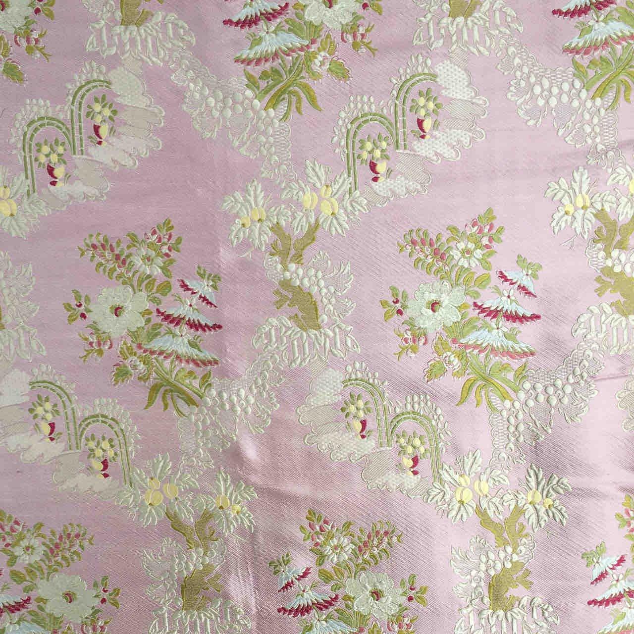 フランス生地 シルク100% フラワージャカード 《シャントルー》 ピンク