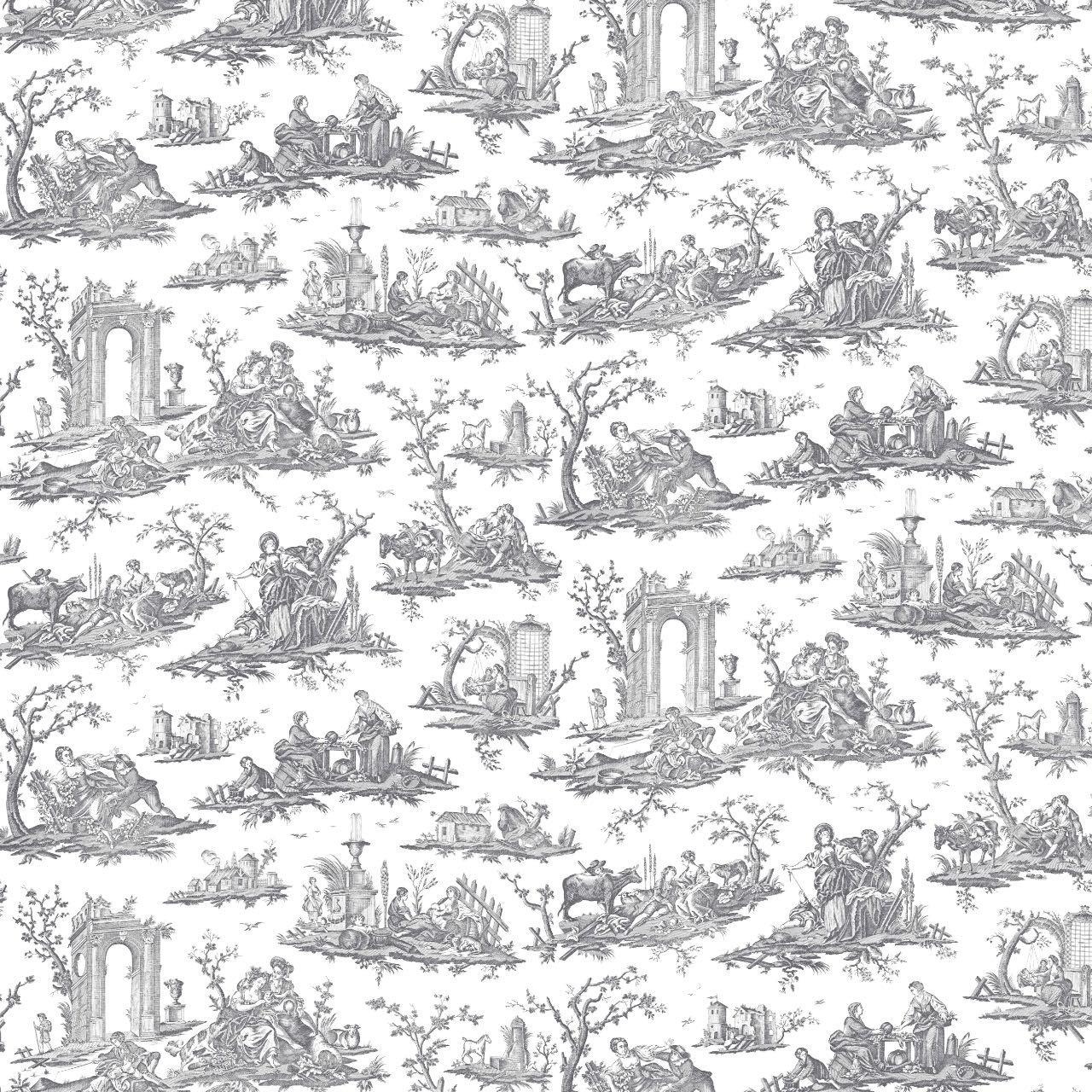 フランス壁紙 フリース(不織布) トワル・ド・ジュイ デザイン 《フラゴナール》 ブラック