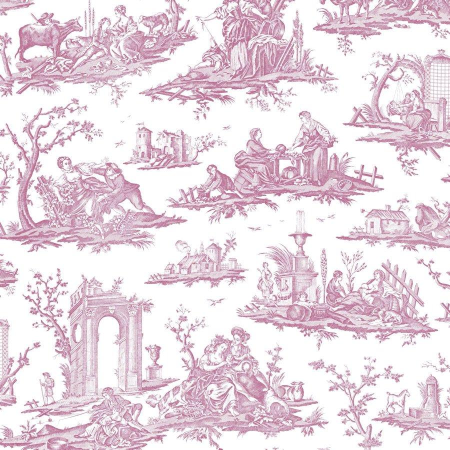 フランス壁紙 フリース(不織布) トワル・ド・ジュイ デザイン 《フラゴナール》 ピンク