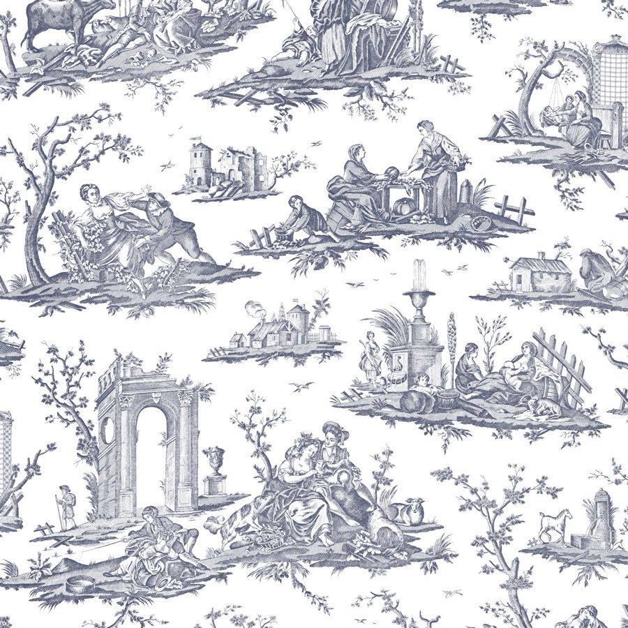 フランス壁紙 フリース(不織布) トワル・ド・ジュイ デザイン 《フラゴナール》 ブルー