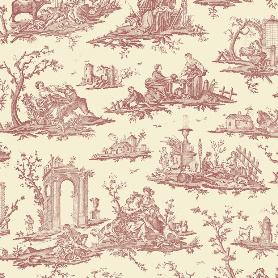 フランス壁紙 フリース(不織布) トワル・ド・ジュイ デザイン 《フラゴナール》 レッド