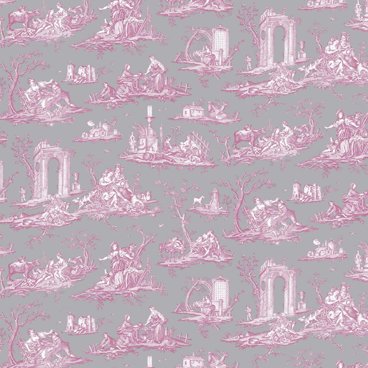 フランス壁紙 フリース(不織布) トワル・ド・ジュイ デザイン 《フラゴナール》 グレー & ピンク