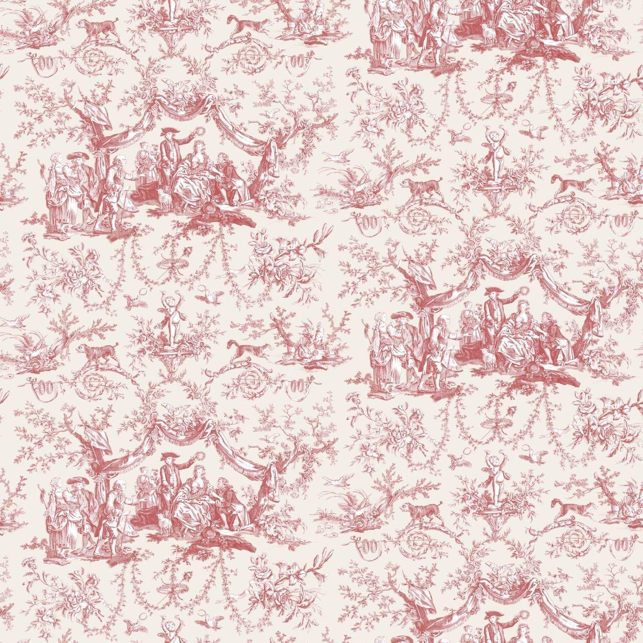 フランス壁紙 フリース(不織布) トワル・ド・ジュイ デザイン 《バラ冠を受ける少女》 レッド