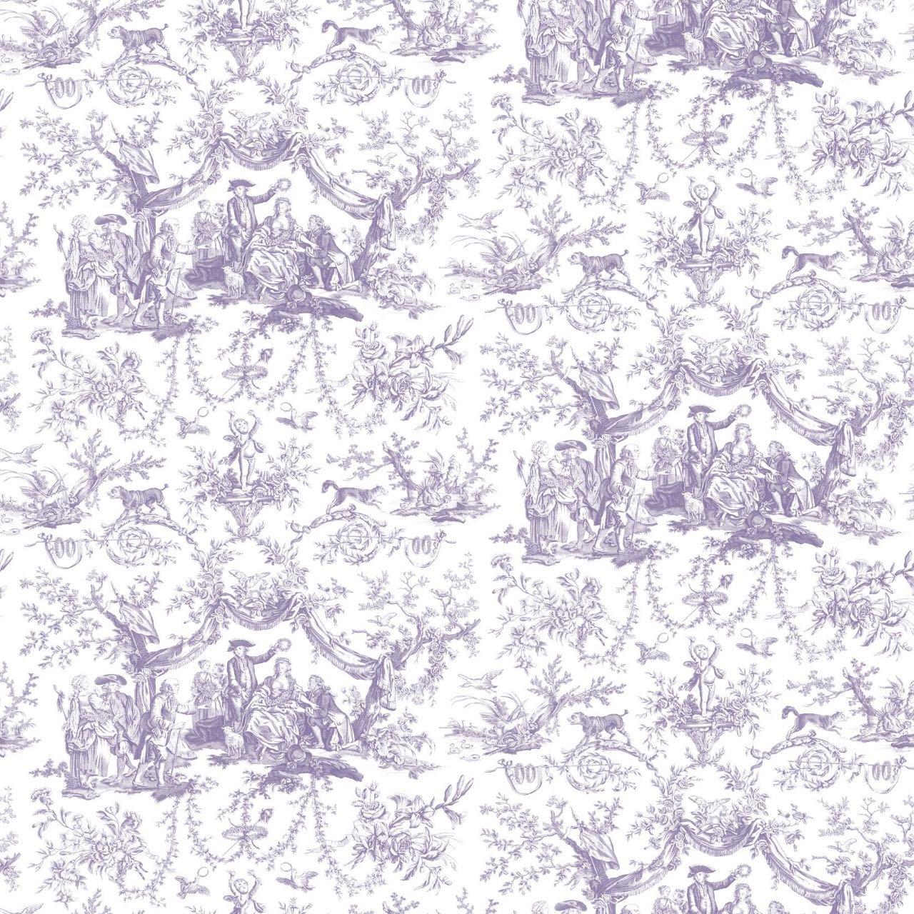 フランス壁紙 フリース(不織布) トワル・ド・ジュイ デザイン 《バラ冠を受ける少女》 パープル