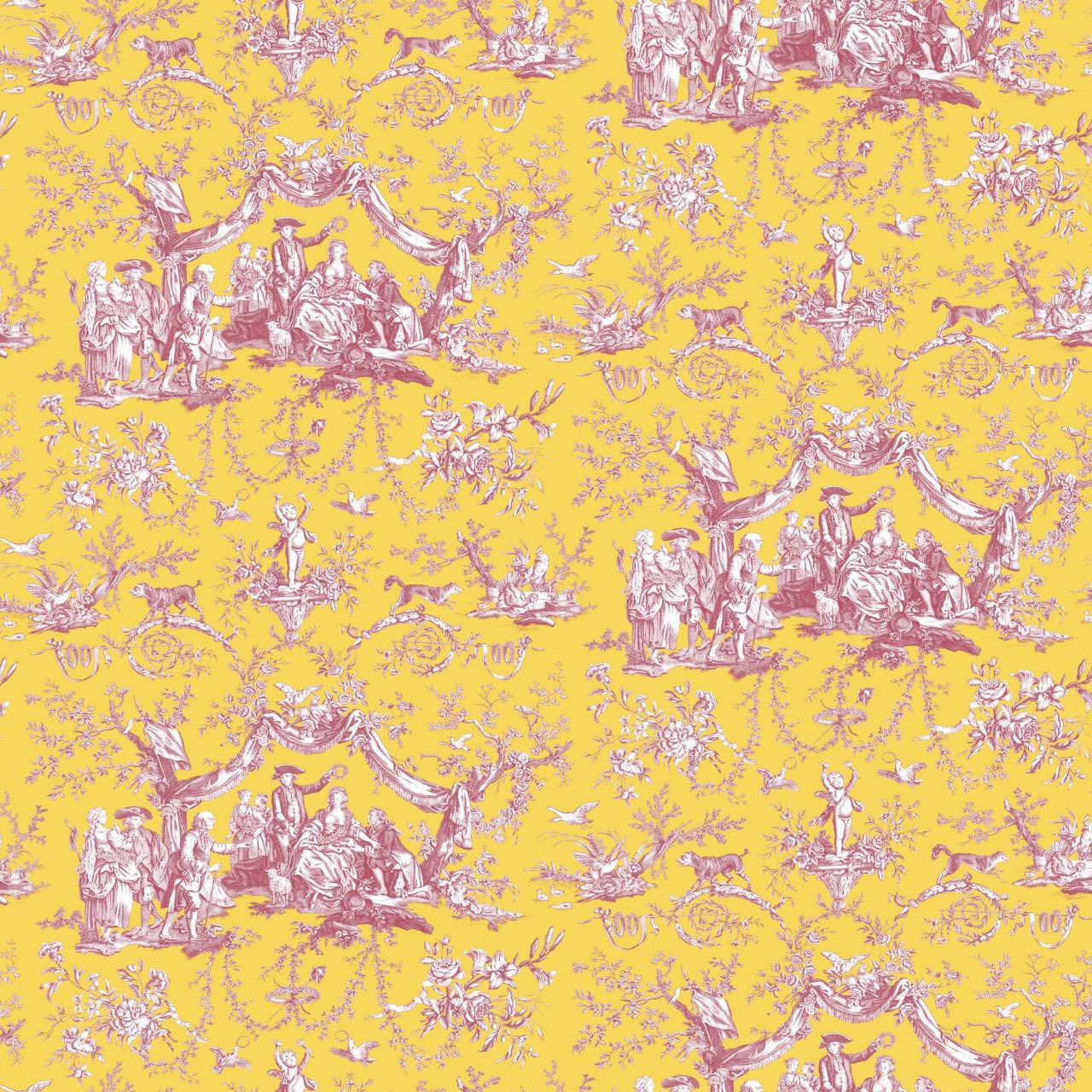 フランス壁紙 フリース(不織布) トワル・ド・ジュイ デザイン 《バラ冠を受ける少女》 イエロー & ピンク