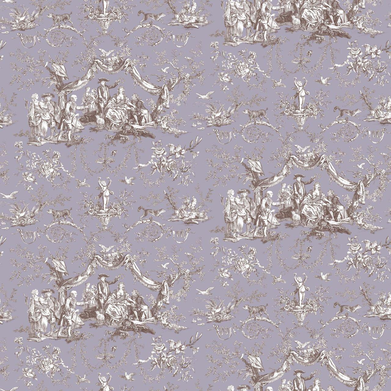 フランス壁紙 フリース(不織布) トワル・ド・ジュイ デザイン 《バラ冠を受ける少女》 パープル & ブラウン