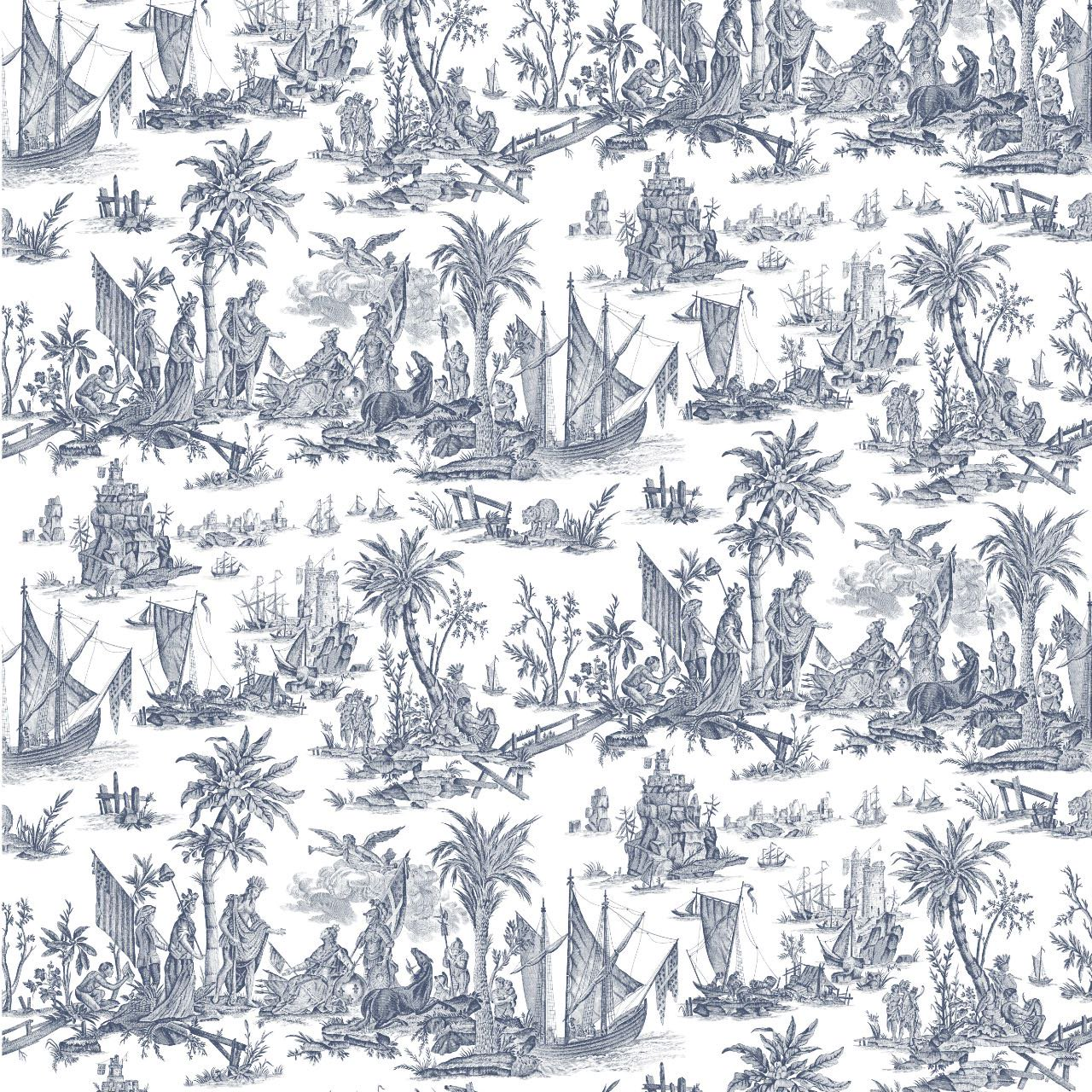 フランス壁紙 フリース(不織布) トワル・ド・ジュイ デザイン 《ラファイエット》 ブルー by Charles Burger (シャールブルジェ)