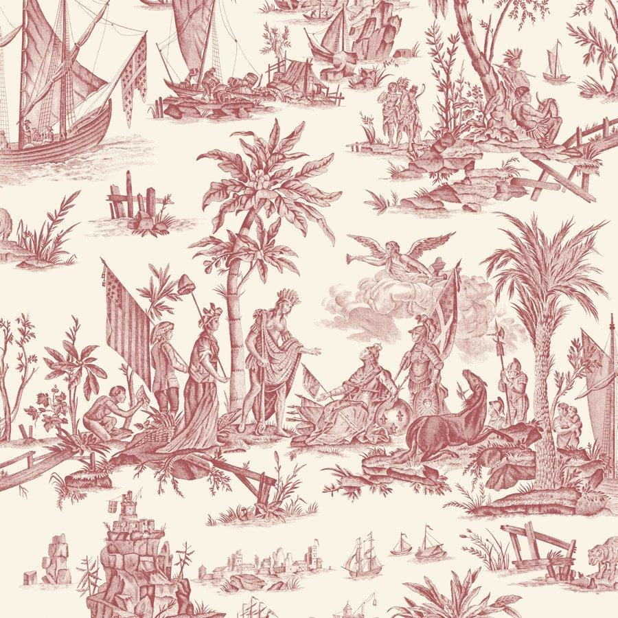 フランス壁紙 フリース(不織布) トワル・ド・ジュイ デザイン 《ラファイエット》 レッド