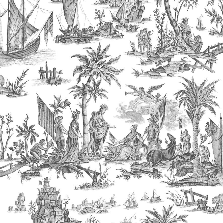 フランス壁紙 フリース(不織布) トワル・ド・ジュイ デザイン 《ラファイエット》 ブラック