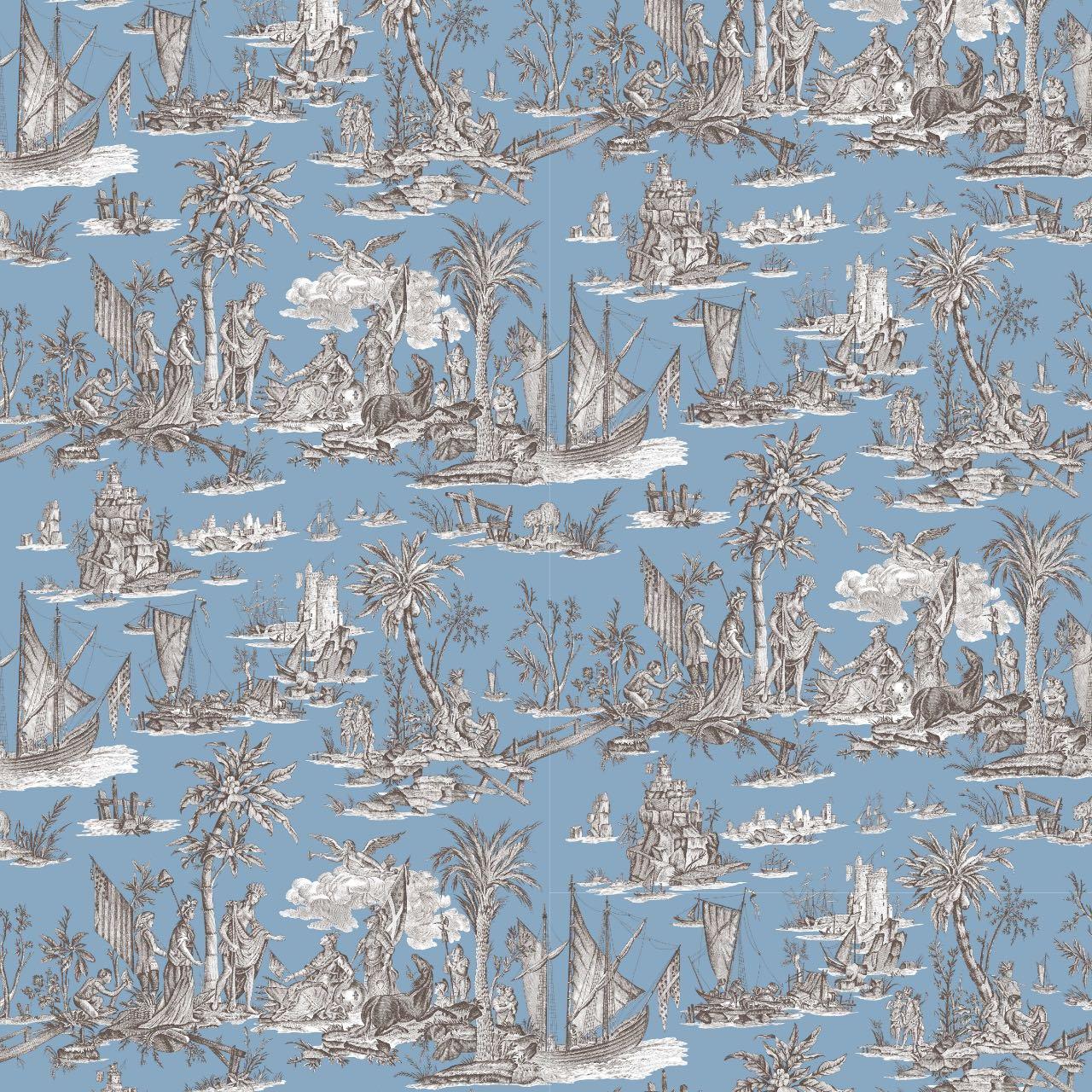 フランス壁紙 フリース(不織布) トワル・ド・ジュイ デザイン 《ラファイエット》 ブルー & ブラウン