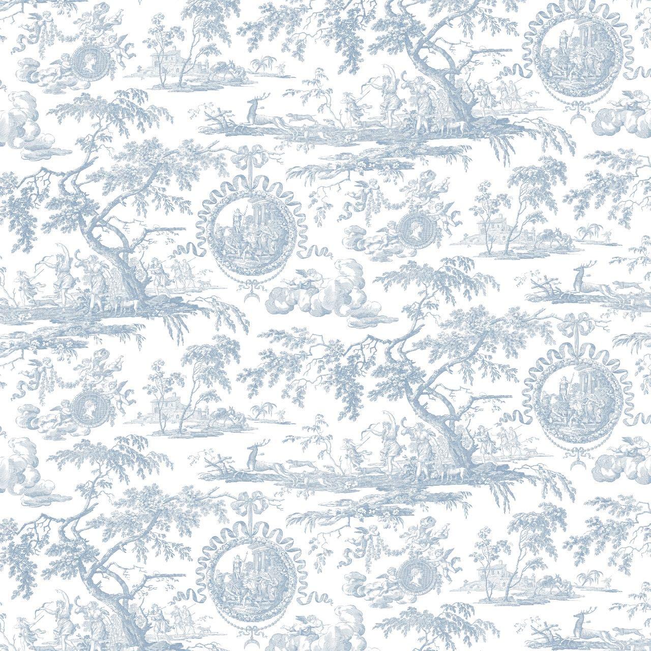 フランス壁紙 フリース(不織布) トワル・ド・ジュイ デザイン 《ディアーナの狩猟》 ブルー