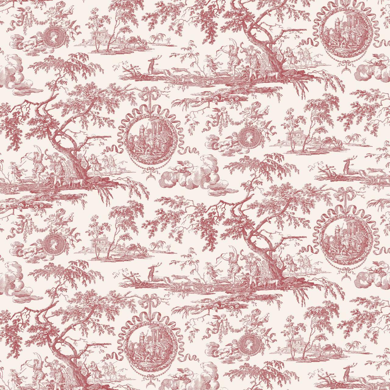 フランス壁紙 フリース(不織布) トワル・ド・ジュイ デザイン 《ディアーナの狩猟》  レッド