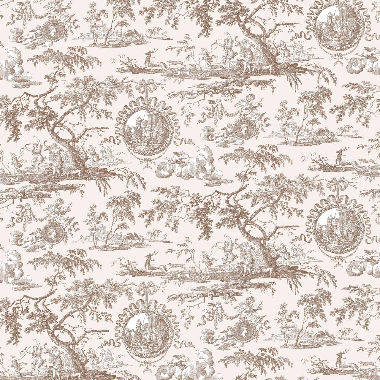 フランス壁紙 フリース(不織布) トワル・ド・ジュイ デザイン 《ディアーナの狩猟》  ブラウン